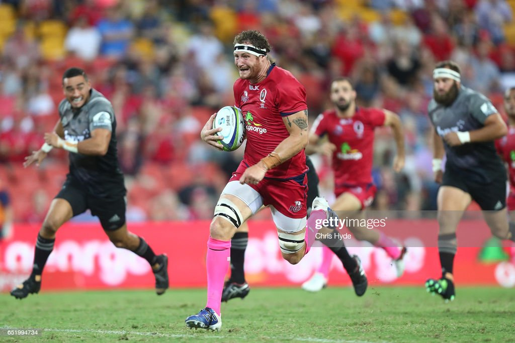 Scott Higginbotham of the Reds makes a break during the round three Super Rugby match between the Reds and the Crusaders at Suncorp Stadium on March 11, 2017 in Brisbane, Australia.