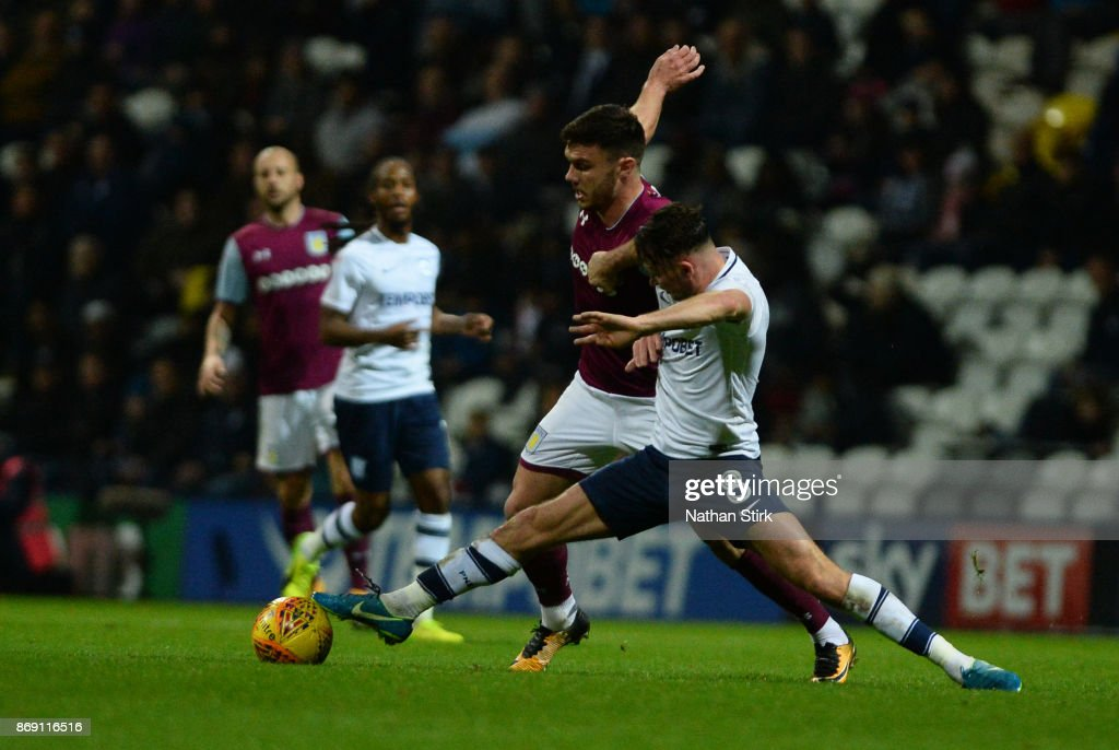 Scott Hogan of Aston Villa and Alan Browne of Preston North End in action during the Sky Bet Championship match between Preston North End and Aston Villa at Deepdale on November 1, 2017 in Preston, England.