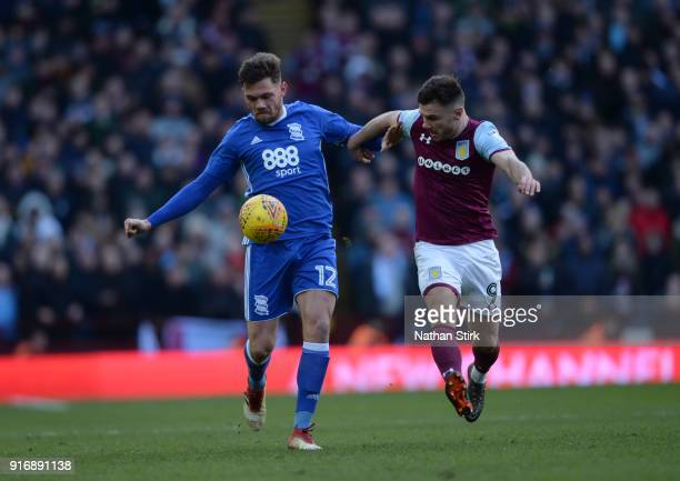 Scott Hogan of Aston Villa and Harlee Dean of Birmingham City in action during the Sky Bet Championship match between Aston Villa and Birmingham City...