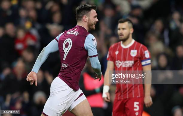 Scott Hogan of Aston Villa celebrates after scoring their first goal during the Sky Bet Championship match between Aston Villa and Bristol City at...
