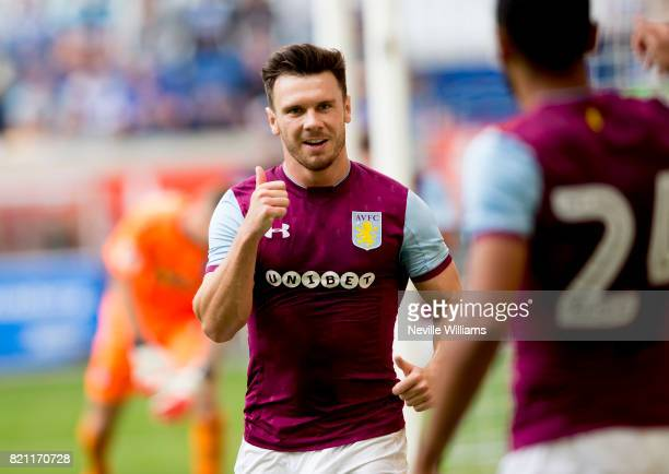 Scott Hogan of Aston Villa celebrates his first goal for Aston Villa during the pre season friendly between MSV Duisburg and Aston Villa at the...
