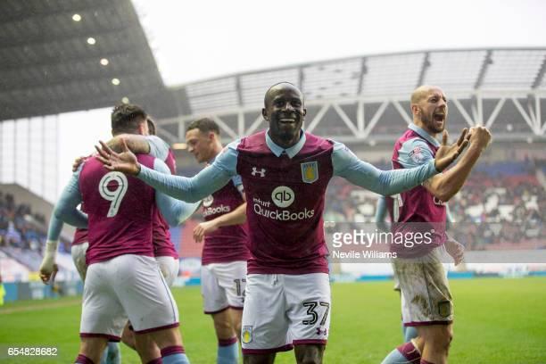 Scott Hogan of Aston Villa celebrates his goal for Aston Villa during the Sky Bet Championship match between Wigan Athletic and Aston Villa at the DW...