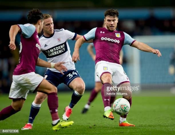 Scott Hogan of Aston Villa controls the ball during the Carabao Cup Third Round match between Aston Villa and Middlesbrough at the Villa Park on...