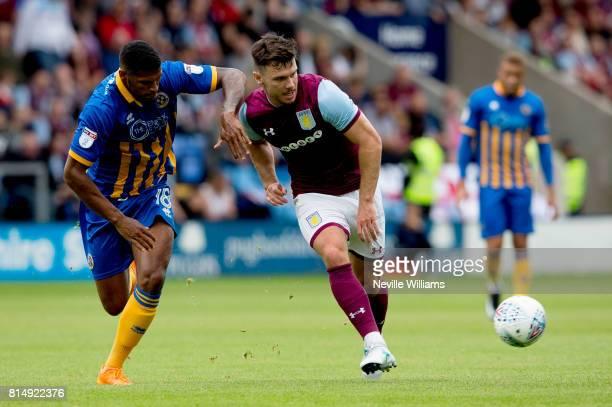 Scott Hogan of Aston Villa during the PreSeason Friendly match between Shrewsbury Town and Aston Villa at the Greenhous Meadow on July 15 2017 in...