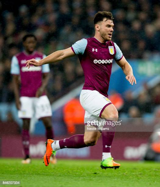 Scott Hogan of Aston Villa during the Sky Bet Championship match between Aston Villa and Middlesbrough at Villa Park on September 12 2017 in...