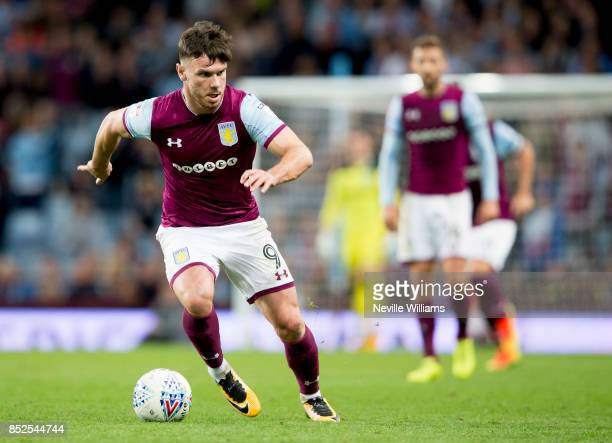 Scott Hogan of Aston Villa during the Sky Bet Championship match between Aston Villa and Nottingham Forest at Villa Park on September 23 2017 in...