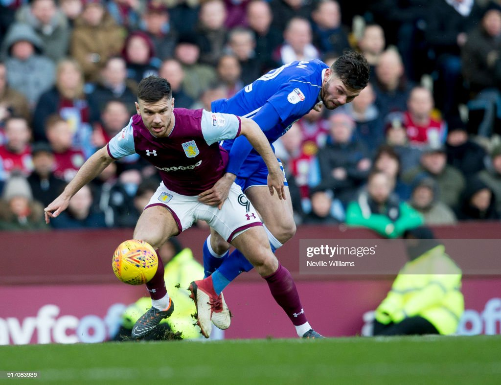 Scott Hogan of Aston Villa during the Sky Bet Championship match between Aston Villa and Birmingham City at Villa Park on February 11, 2018 in Birmingham, England.