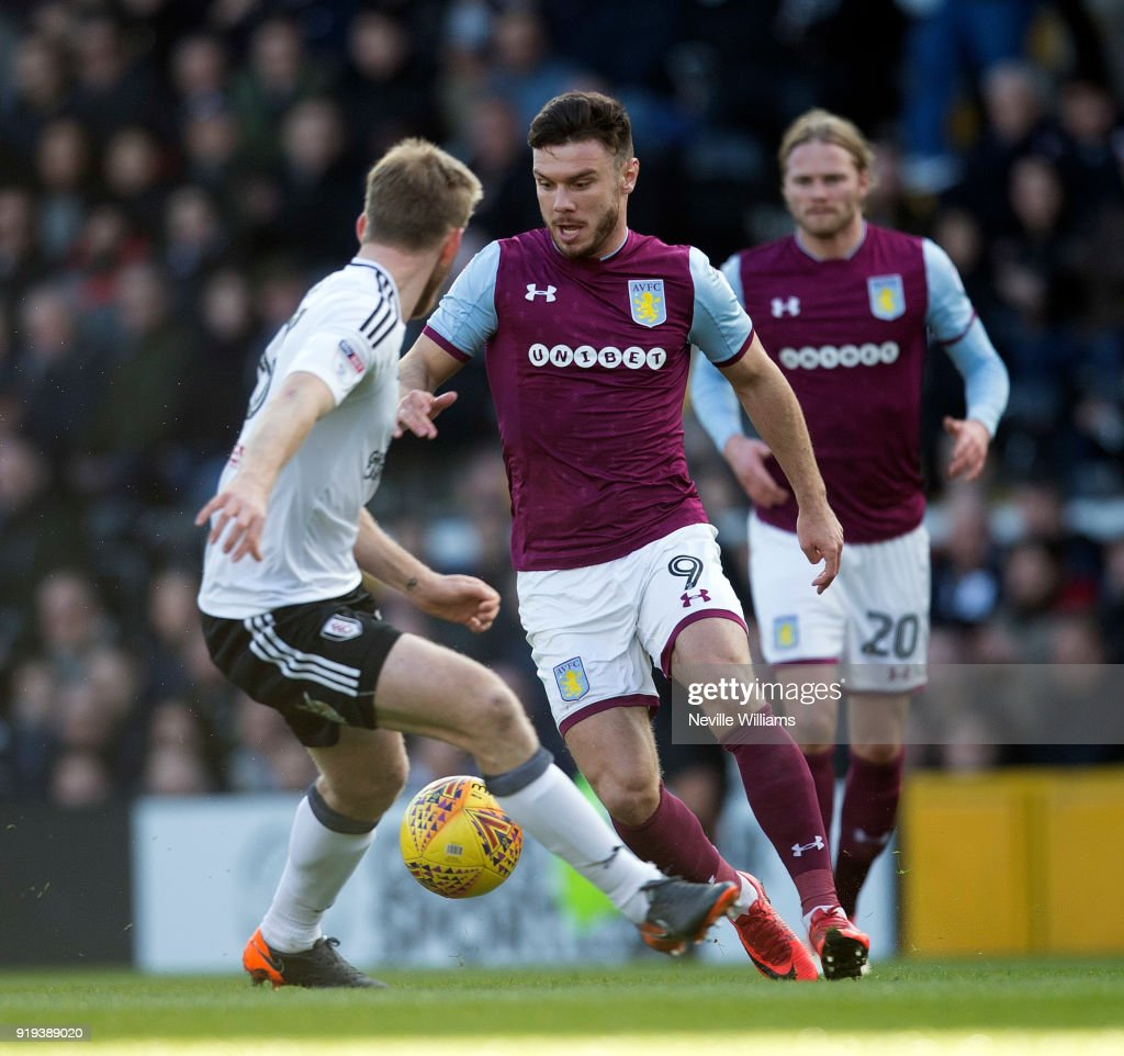 Scott Hogan of Aston Villa during the Sky Bet Championship match between Fulham and Aston Villa at Craven Cottage on February 17, 2018 in London, England.