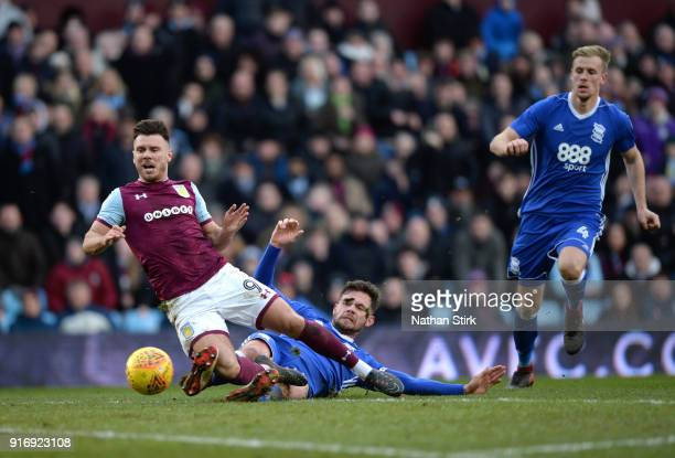 Scott Hogan of Aston Villa goes looking for a penalty after Harlee Dean of Birmingham City dives in during the Sky Bet Championship match between...
