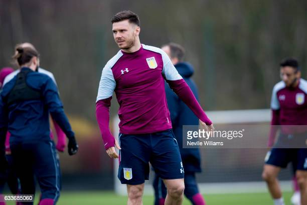 Scott Hogan of Aston Villa in action during a Aston Villa training session at the club's training ground at Bodymoor Heath on February 03 2017 in...