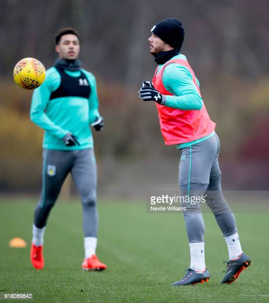 Scott Hogan of Aston Villa in action during a Aston Villa training session at the club's training ground at Bodymoor Heath on February 06 2018 in...