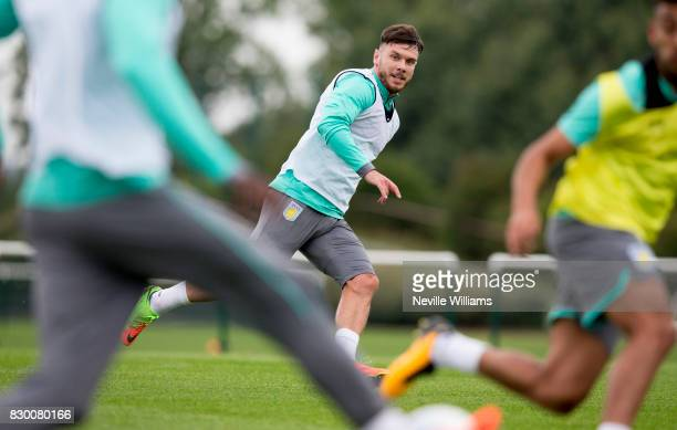 Scott Hogan of Aston Villa in action during a training session at the club's training ground at Bodymoor Heath on August 11 2017 in Birmingham England