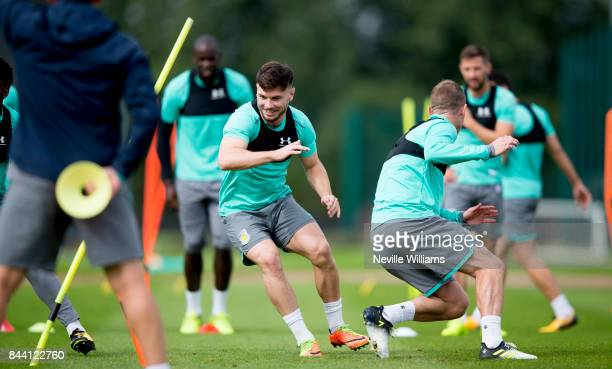 Scott Hogan of Aston Villa in action during a training session at the club's training ground at Bodymoor Heath on September 08 2017 in Birmingham...