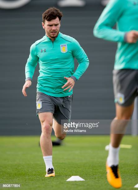 Scott Hogan of Aston Villa in action during a training session at the club's training ground at Bodymoor Heath on October 13 2017 in Birmingham...