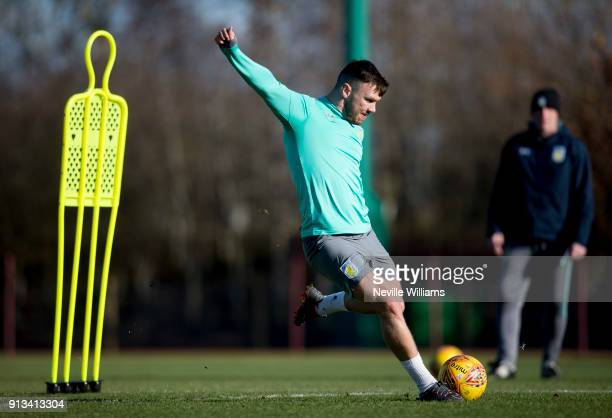 Scott Hogan of Aston Villa in action during a training session at the club's training ground at Bodymoor Heath on February 02 2018 in Birmingham...