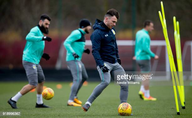 Scott Hogan of Aston Villa in action during a training session at the club's training ground at Bodymoor Heath on February 16 2018 in Birmingham...