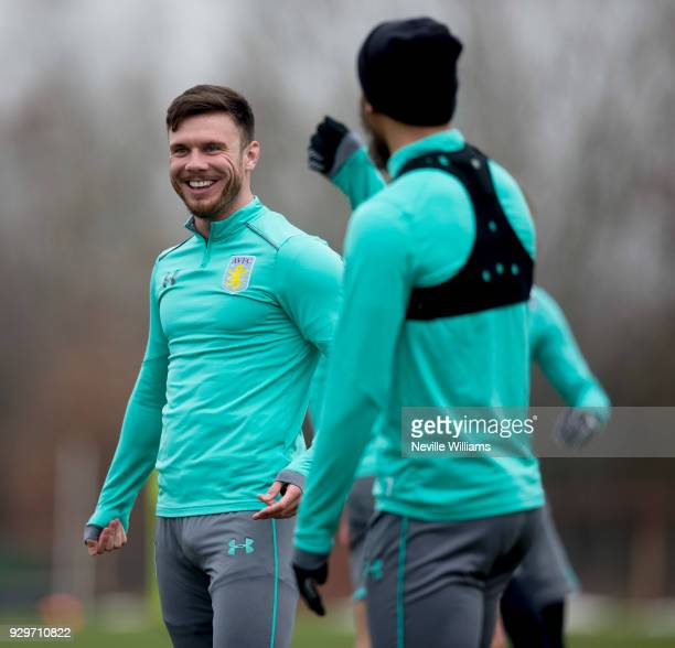 Scott Hogan of Aston Villa in action during a training session at the club's training ground at Bodymoor Heath on March 09 2018 in Birmingham England