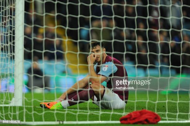 Scott Hogan of Aston Villa looks on during the Sky Bet Championship match between Aston Villa and Middlesbrough at Villa Park on September 12 2017 in...