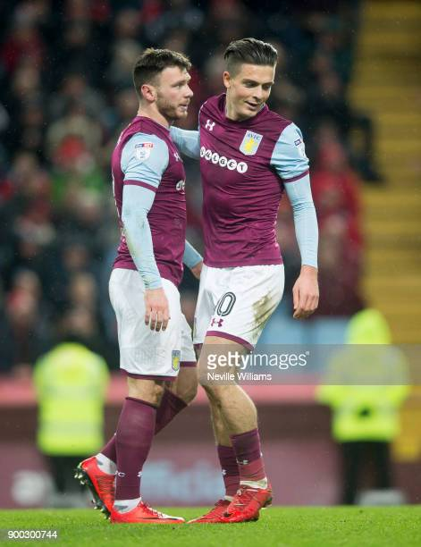 Scott Hogan of Aston Villa scores for Aston Villa during the Sky Bet Championship match between Aston Villa and Bristol City at Villa Park on January...
