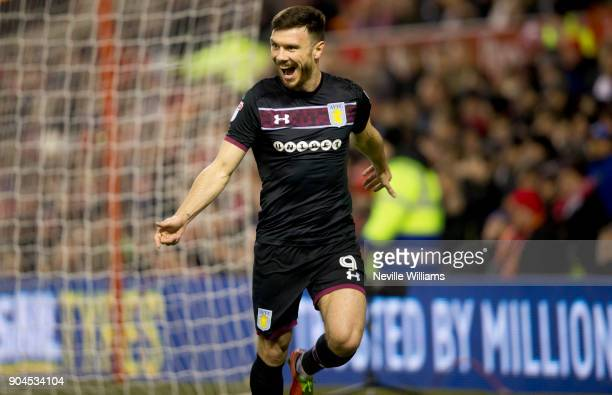 Scott Hogan of Aston Villa scores for Aston Villa during the Sky Bet Championship match between Nottingham Forest and Aston Villa at the City Ground...
