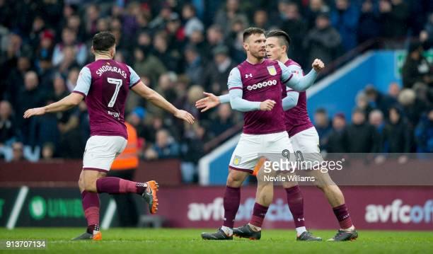 Scott Hogan of Aston Villa scores for Aston Villa during the Sky Bet Championship match between Aston Villa and Burton Albion at Villa Park on...