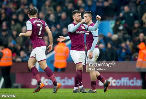 Scott Hogan of Aston Villa scores for Aston Villa during the Sky Bet Championship match between Aston Villa and Burton Albion at Villa Park on...