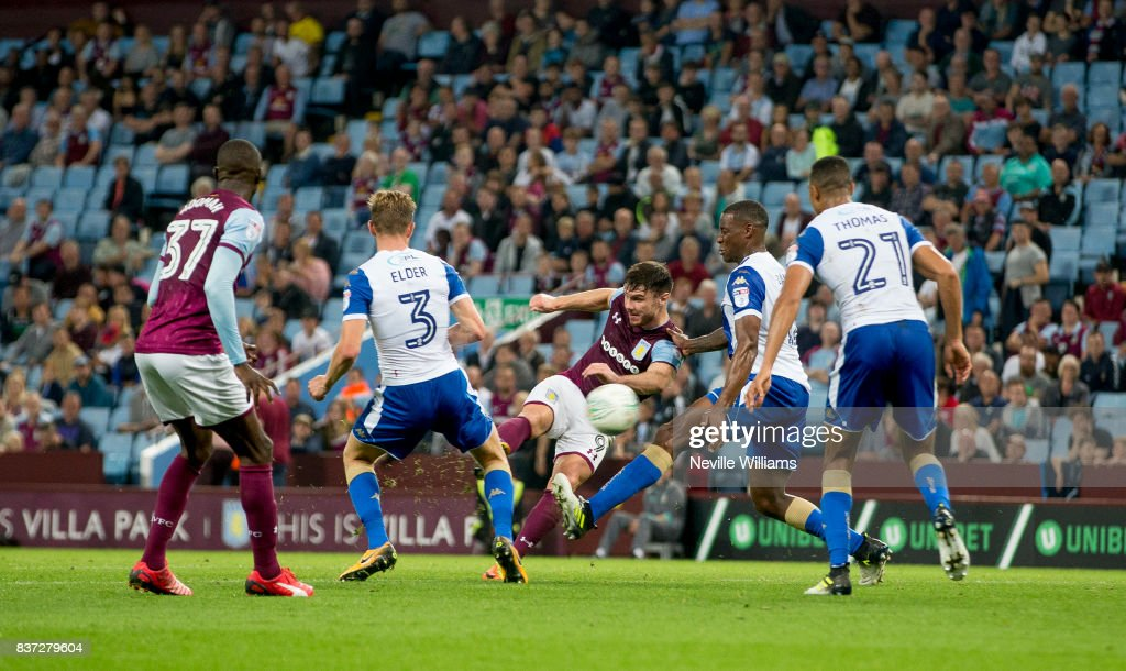 Scott Hogan of Aston Villa scores his second goal for Aston Villa during the Carabao Cup Second Round match between Aston Villa and Wigan Athletic at the Villa Park on August 22, 2017 in Birmingham, England.