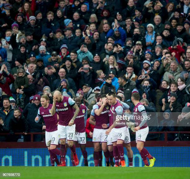 Scott Hogan of Aston Villa scores second goal for Aston Villa during the Sky Bet Championship match between Aston Villa and Barnsley at Villa Park on...
