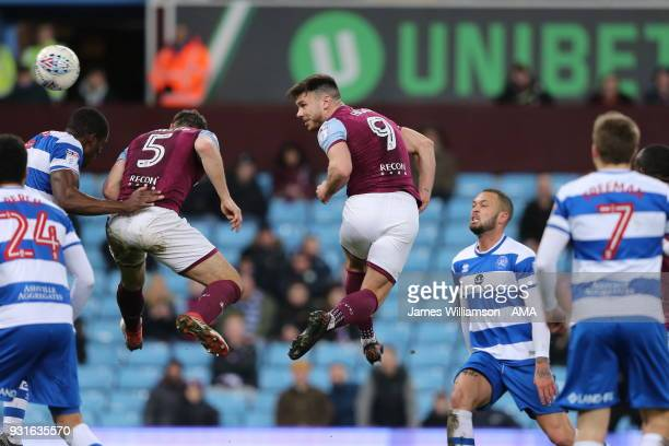 Scott Hogan of Aston Villa sends a header towards goal during the Sky Bet Championship match between Aston Villa and Queens Park Rangers at Villa...
