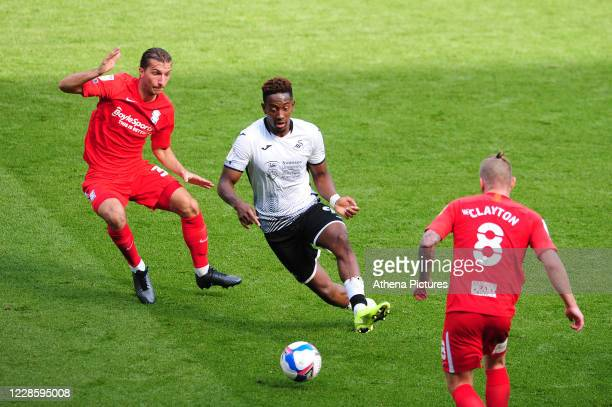 Scott Hogan of Birmingham City in action during the Sky Bet Championship match between Swansea City and Birmingham City at the Liberty Stadium on...