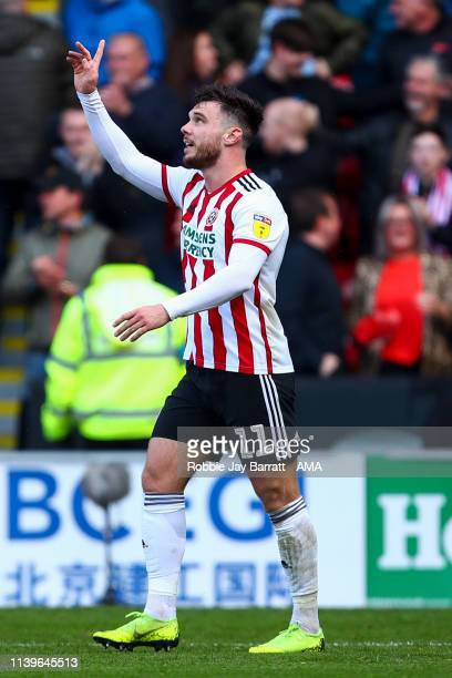 Scott Hogan of Sheffield United celebrates after scoring a goal to make it 10 during the Sky Bet Championship match between Sheffield United and...