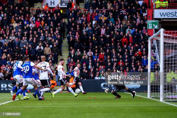 Scott Hogan of Sheffield United scores a goal to make it 10 during the Sky Bet Championship match between Sheffield United and Ipswich Town at...