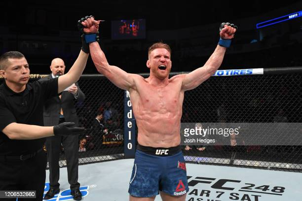 Scott Holtzman celebrates his victory over Jim Miller in their lightweight bout during the UFC Fight Night event at Santa Ana Star Center on February...