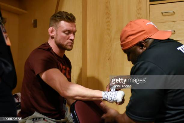 Scott Holtzman has his hands wrapped backstage during the UFC Fight Night event at Santa Ana Star Center on February 15, 2020 in Rio Rancho, New...