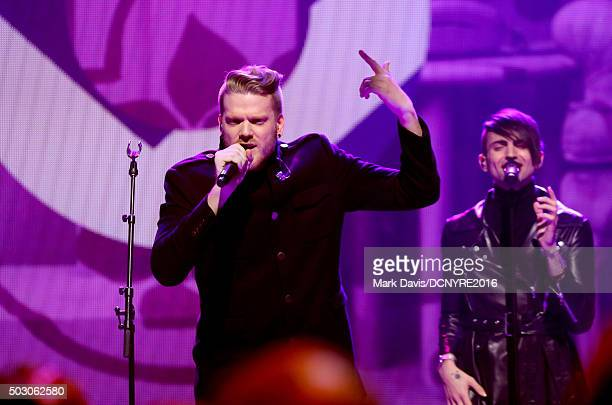 Scott Hoying and Mitch Grassi of Pentatonix perform onstage at Dick Clark's New Year's Rockin' Eve with Ryan Seacrest 2016 on December 31 2015 in Los...