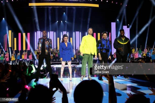 Scott Hoying Mitch Grassi Kirstin Maldonado Kevin Olusola and Matt Sallee of Pentatonix perform onstage at WE Day California at The Forum on April 25...