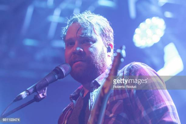 Scott Hutchison of Frightened Rabbit performs on stage at The Liquid Room on March 12 2018 in Edinburgh Scotland
