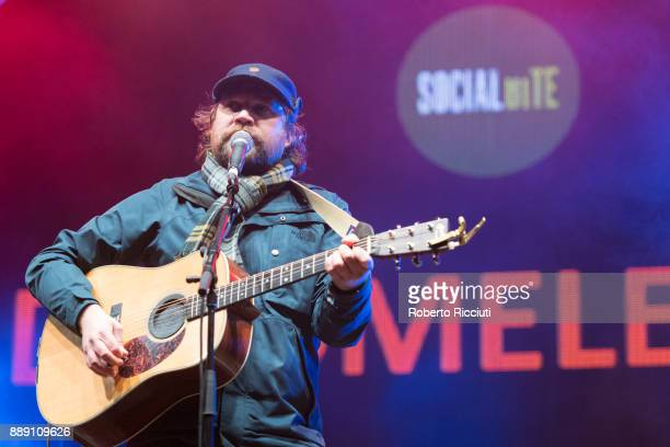 Scott Hutchison of Frightened Rabbit performs on stage during Sleep In The Park a Mass Sleepout organised by Scottish social enterprise Social Bite...