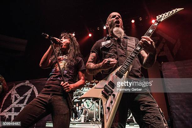 Scott Ian and Joey Belladonna of Anthrax perform at Hollywood Palladium on February 12 2016 in Los Angeles California