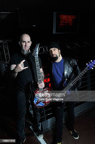 Scott Ian and Rob Caggiano of American heavy metal band Anthrax photographed during a portrait shoot for Total Guitar Magazine March 15 O2 Academy...