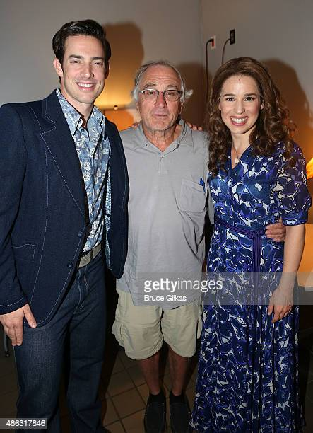 Scott J Campbell as Gerry Goffin Robert De Niro and Chilina Kennedy as Carole King pose backstage at the hit Carole King musical Beautiful on...