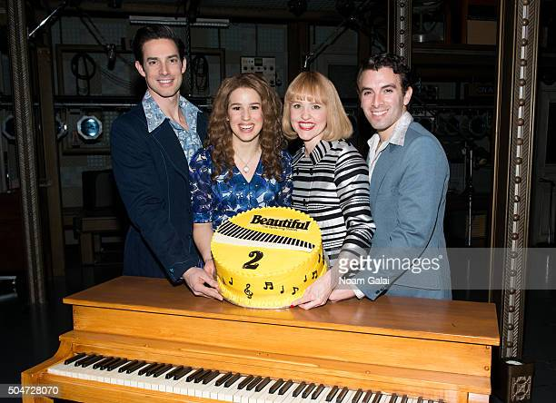 Scott J Campbell Chilina Kennedy Anika Larsen and Jarrod Spector celebete the two year anniversary of Broadway's 'Beautiful The Carole King Musical'...
