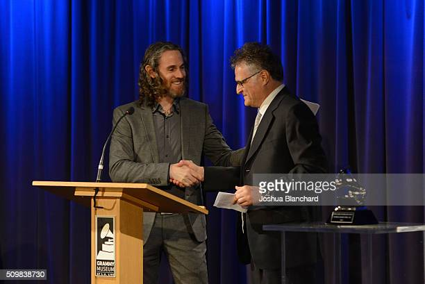 Scott Jacoby congratulates GRAMMY Winner Jules Limon at the Technical GRAMMY Ceremony for The 58th GRAMMY Awards at The GRAMMY Museum on February 12...