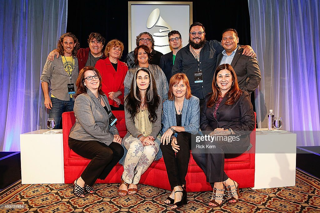 Scott Jacoby, Darrell Brown, Sue Ennis, Tammy Hurt, Barry Coffing, Aaron Ford, Nakia, and Carlos Alvarez. (Front row L - R) Tamera Bennett, Teresa LaBarbera White, Christine Albert, and Theresa Jenkins pose during GRAMMY futureNOW at W Hotel Austin on August 16, 2014 in Austin, Texas.
