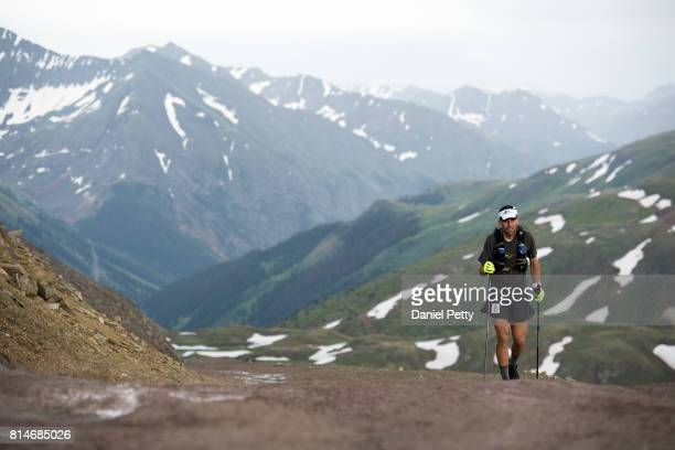 Scott Jaime makes his way toward the summit of Engineer Pass during the Hardrock 100 endurance run through the San Juan Mountains on July 14 outside...