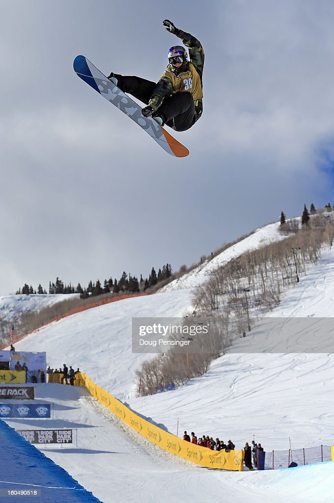 Scott James of Australia competes in the FIS Snowboard Halfpipe World Cup at the Sprint U.S. Grand Prix at Park City Mountain on February 1, 2013 in Park City, Utah.