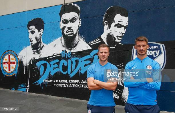 Scott Jamieson and Dario Vidosic of City pose in front of a street art installation during a Melbourne City FC ALeague media opportunity at Melbourne...