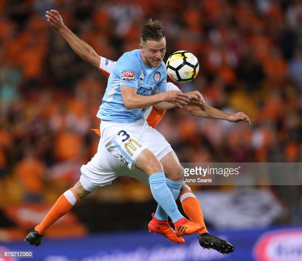 Scott Jamieson of Melbourne City heads the ball during the round seven ALeague match between Brisbane Roar and Melbourne City at Suncorp Stadium on...