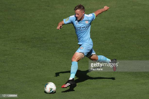 Scott Jamieson of Melbourne in action during the round 22 ALeague match between the Perth Glory and Melbourne City at HBF Park on March 08 2020 in...