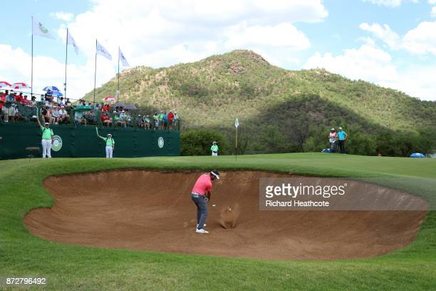 Scott Jamieson of Scotland hits a bunker shot during the third round of the Nedbank Golf Challenge at Gary Player CC on November 11 2017 in Sun City...